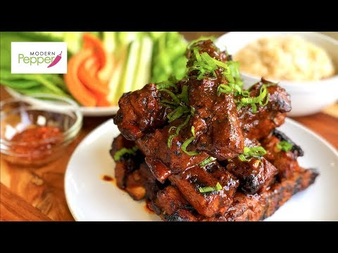 SPICY & STICKY Korean BBQ Pork Ribs in Big Green Egg (매운 돼지 갈비: Galbi/Kalbi w GoChuJang) +
