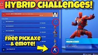 HOW TO UNLOCK NEW HYBRID SKIN PICKAXE & EMOTE In Fortnite! DRAGONS CLAW PICKAXE DRAGON STANCE EMOTE