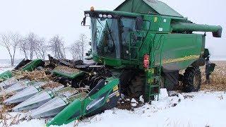 Zimowe żniwa kukurydziane 2018 – w polu John Deere WTS 9560i (oryginalny dźwięk)