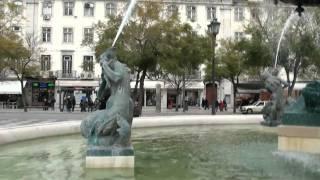 Rossio Square And Praça do Comércio, Lisbon, Portugal