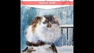 Рисуем зимнего кота акварелью по-сырому