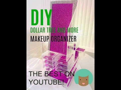 "DIY  ""GIGANTIC MAKEUP ORGANIZER"" Dollar Store 