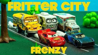 Fritter City Frenzy with Derby Cars Racers Lightning McQueen + Jackson Storm