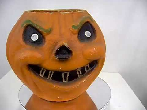 Vintage Large 8 Inch Paper Mache Halloween Scary Pumpkin