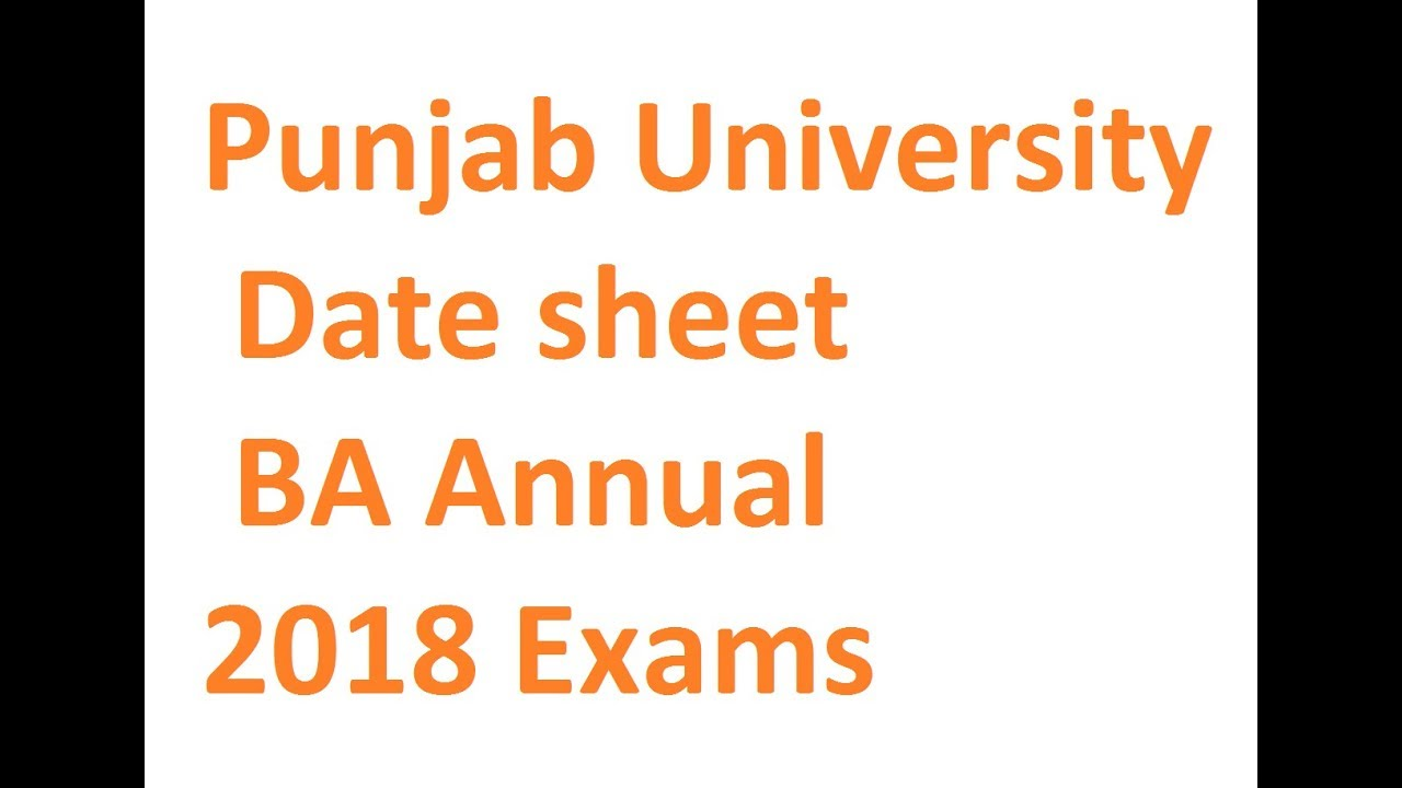 Date Sheet BA Part 1,2 Punjab university annual 2018 exams
