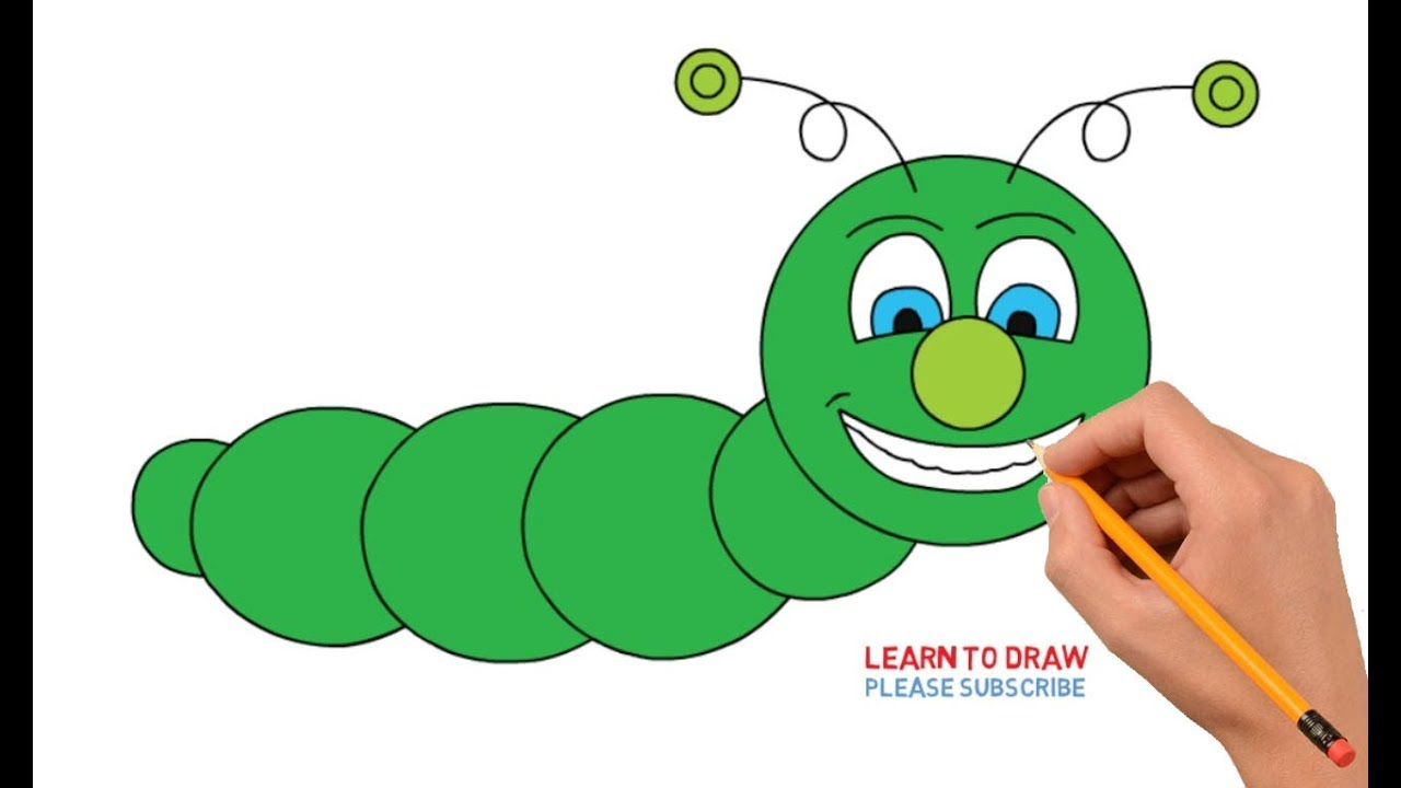 How To Draw A Cartoon Caterpillar Step By Step Easy For Kids Youtube