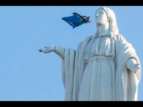 Sebastian Alvarez | Wingsuit Virgen Cerro San Cristobal. Santiago, Chile.