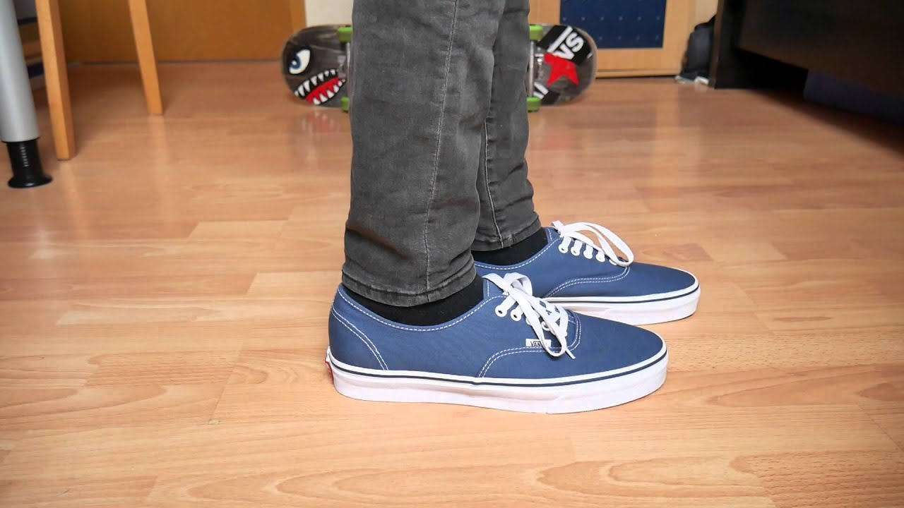 Vans Authentic NAVY - On Feet - YouTube 89385aa91