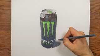 Speed Drawing A Monster Energy drink can