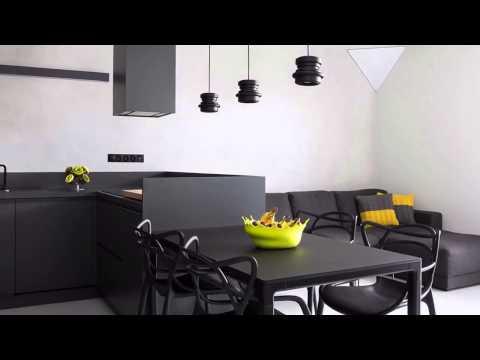 Дизайн проект квартиры в черно белых тонах