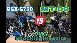 Suzuki GSX-S750 vs Yamaha MT-09 2018 | Comparison ||Shocking Results |