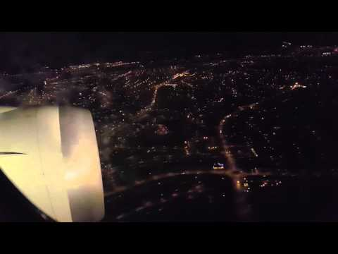 Landing at Birmingham airport.  Night landing.
