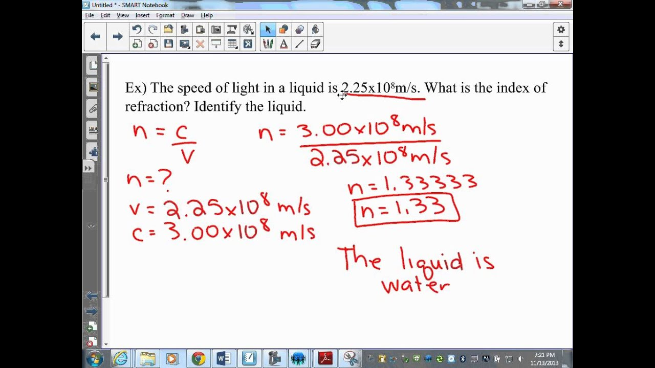 Index Refraction Example Youtube
