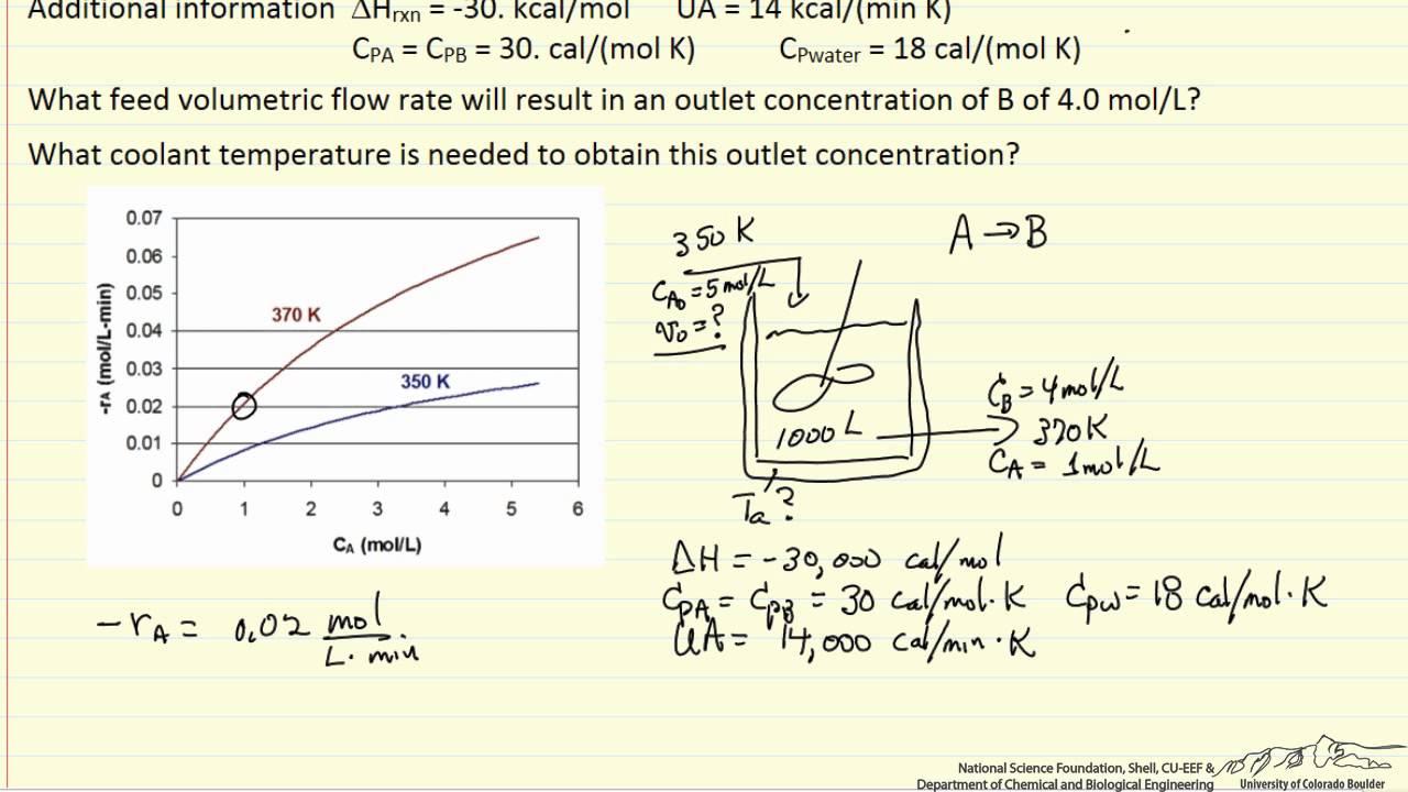 CSTR Energy Balance Calculation YouTube - Cstr reactor design