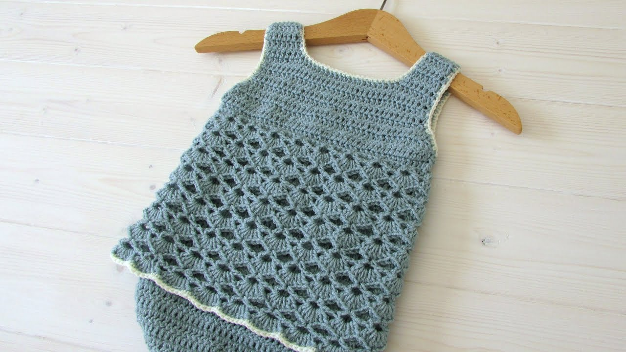 26cf4e992793 How to crochet a simple lace baby romper - YouTube