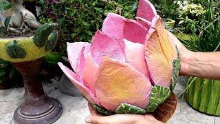 DIY cement pot || Lotus shape pot || Creative cement planters || Flower pot || Bonsai pot ||