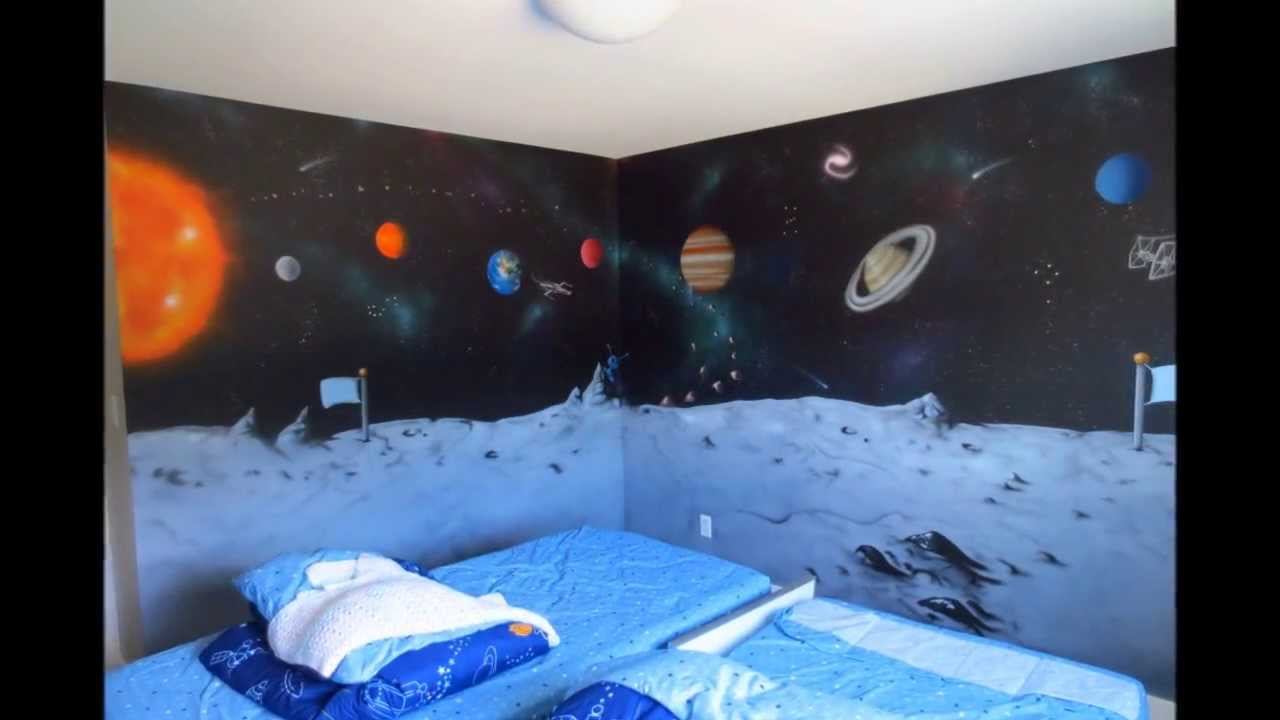Space Mural In Kids Room YouTube - Space kids room