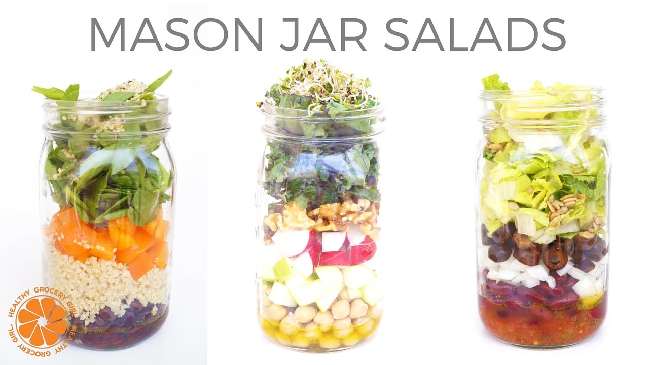 3 Mason Jar Salad Meals Healthy Affordable Lunch Ideas Healthy Grocery Girl Cooking Show Youtube