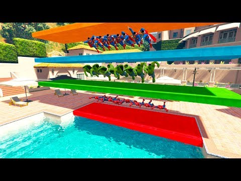 SUPERHERO SWIMMING COMPETITION Learn Numbers and Colors for kids 3d animation