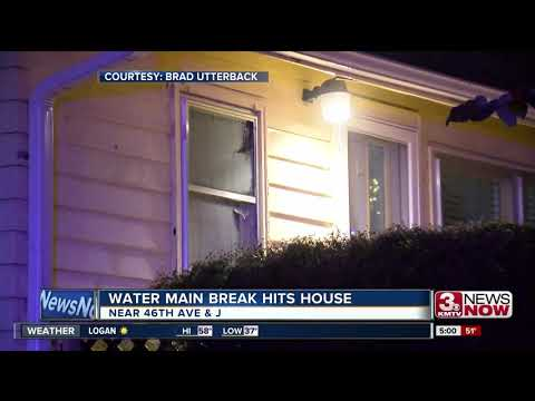 Water main break at Omaha home causes broken windows, flooding in home