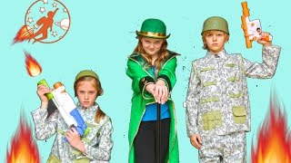 Adventure Kids 5 - The Leprechaun and Nerf Gun Battle!! Kids Nerf War Movie