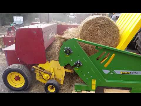Rhys Evans Hustler Chainless XR1500 Demo, Feeding Round Bales Into A Small Square Baler