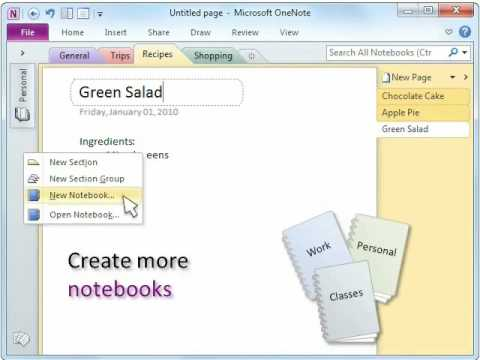 How to organize stuff in microsoft onenote 2010 youtube for Templates for onenote 2010