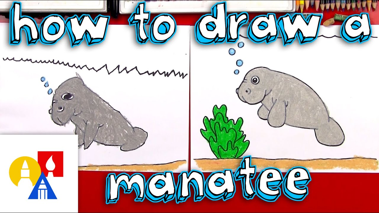 how to draw a cartoon manatee [ 1280 x 720 Pixel ]