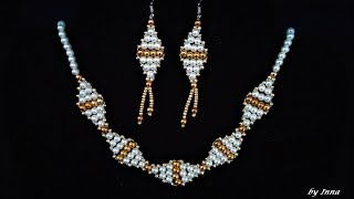 How to make beaded necklace and earrings tutorial