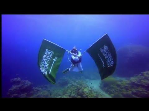 Saudi Arabia flag into the ocean