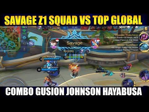 GG COMBO GUSION SAVAGE WITH PATRICK JOHNSON VS TOP GLOBAL - Mobile Legend Bang Bang