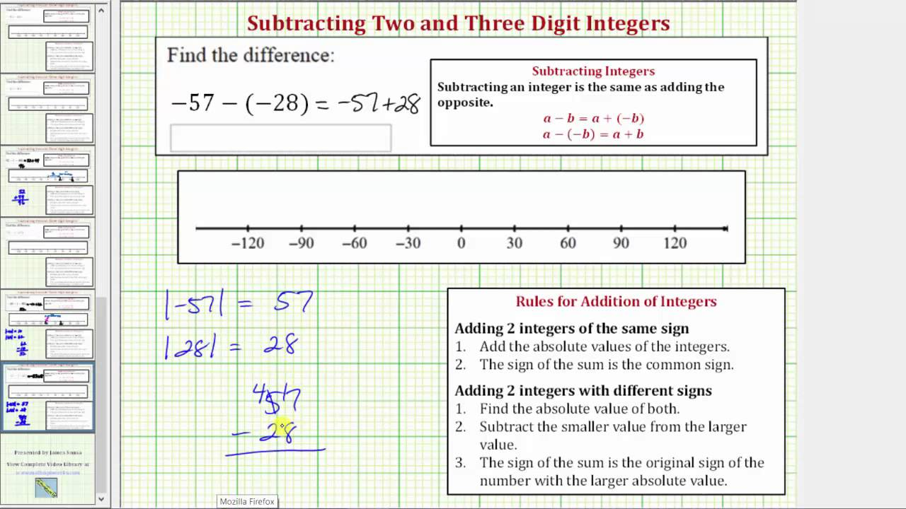 how to add subtract integers without number line video