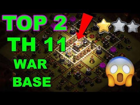 TOP 2 TH11 WAR BASE 2018 Anti 2 Star With +8 Replays Anti Bowler Miner,E-Dragon,Anti Queen Walk |Coc