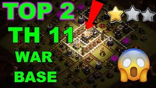 TOP 2 TH11 WAR BASE 2018 Anti 2 Star With +8 Replays Anti Bowler Miner,E-Dragon,Anti Queen Walk |Coc