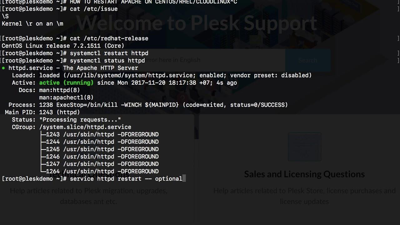 How to restart Apache service in Plesk for Linux – Plesk