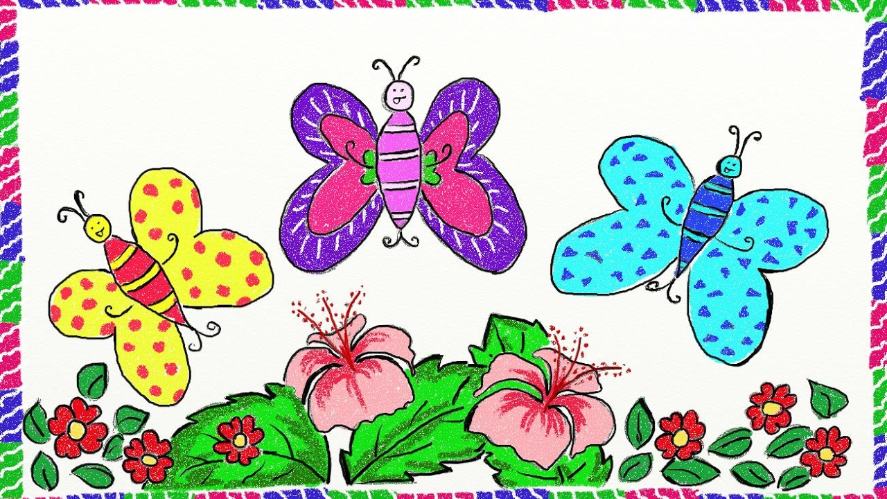 Drawing simple butterfly | How to draw butterfly | Drawing ...