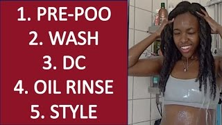 Watch me WASH, CONDITION, OIL RINSE and STYLE my long (4C) NATURAL hair from start to finish