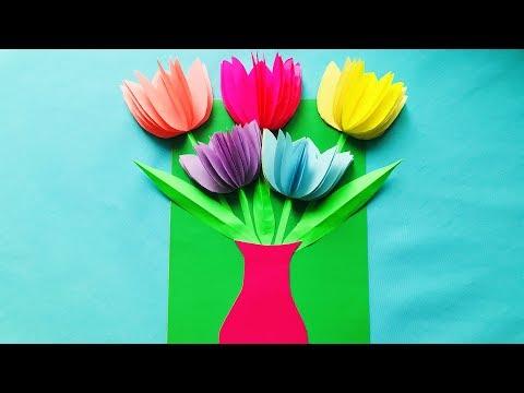 3D ОТКРЫТКА на 8 Марта Своими руками Цветы тюльпаны из бумаги. Как сделать ОРИГАМИ (Эмилия)