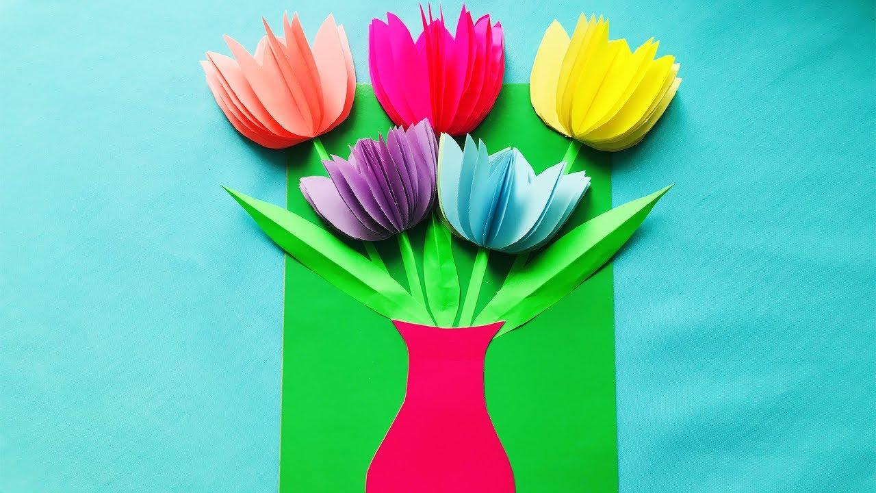 Как сделать открытку с тюльпанами из бумаги