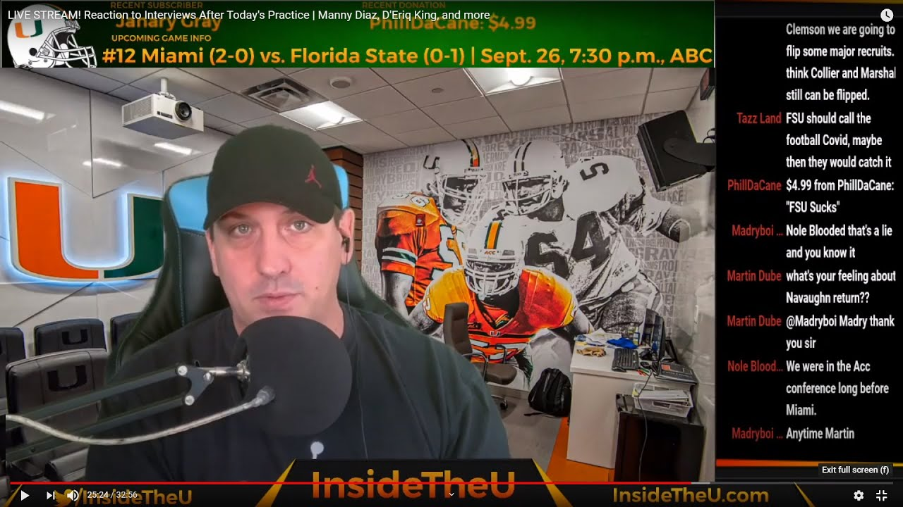 LIVE! Reaction to Interviews After Today's Practice | Manny Diaz, D'Eriq King, and more