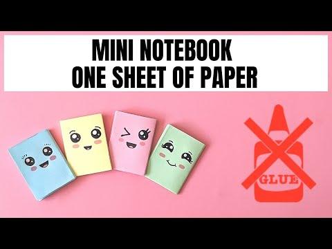 DIY MINI NOTEBOOKS ONE SHEET OF PAPER NO GLUE - DIY BACK TO SCHOOL