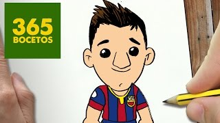COMO DIBUJAR MESSI KAWAII PASO A PASO - Dibujos kawaii faciles - How to draw a MESSI