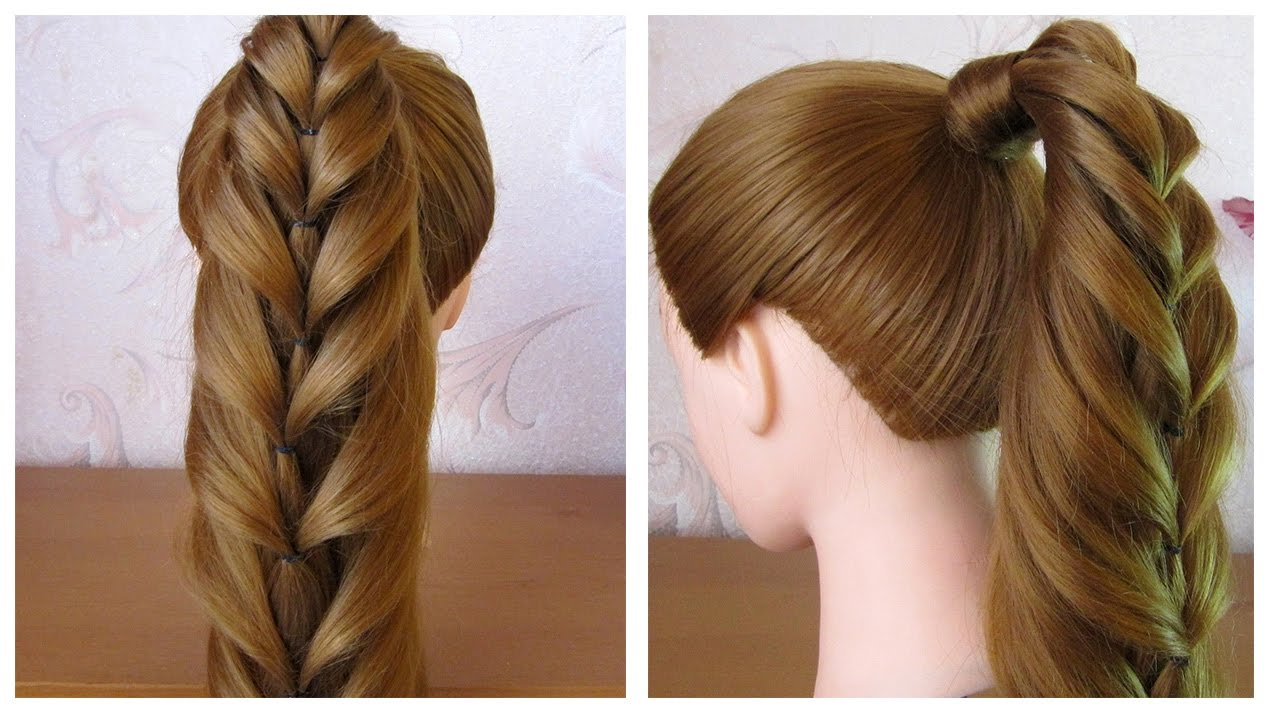 Super Tuto coiffure simple: queue de cheval originale ♡ Tresse facile à  YW96