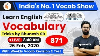 8:40 AM - English Vocabulary | Learn English Vocabulary Tricks with Bhunesh Sir | Day #871