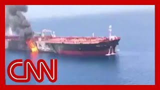 Tanker on fire after attack in Gulf of Oman