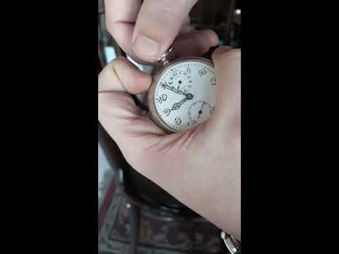 0,900 Silber ANGELUS cal.125 Wecker Alarm Uhr Taschenuhr Herren silver watch RAR