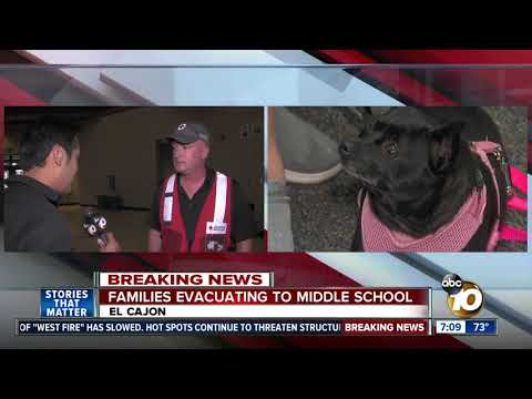 Families evacuate to Los Coches Creek Middle School