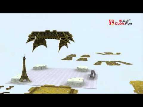The Eiffel Tower -- CubicFun 3D puzzle assembly animation by CubicFun