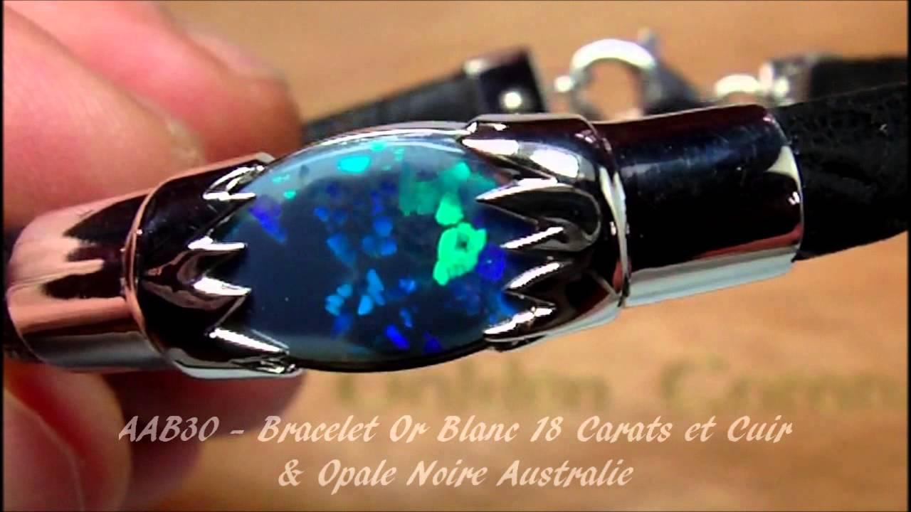 AAB30 , OPAL ORION , Bracelet Homme Or Blanc 18 Carat, Cuir Fleurus, Opale  Noire Australie shamballa