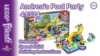 LEGO Friends 41374 Andrea's Pool Party Review | Toy Unboxing | Speed Build | Building Instructions